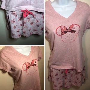 Disney Minnie Mouse bow pink pajama short set